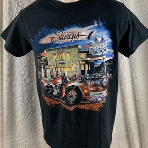 Men's Biker T-shirt Size S 76th Sturgis Black Hill